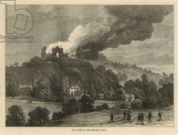 The burning of the Alexandra Palace (engraving)