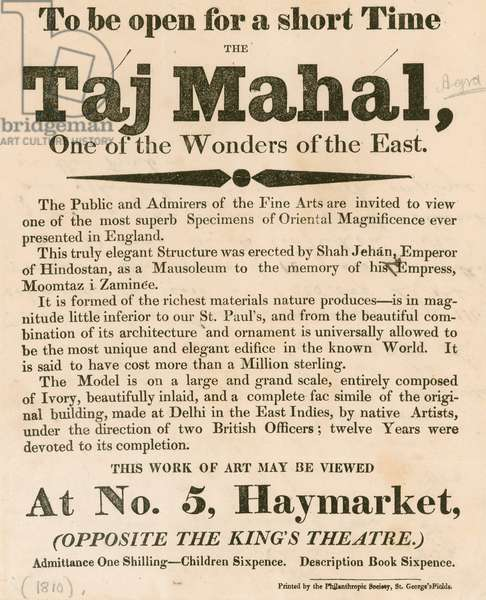 Advert for the exhibition of a model of the Taj Mahal at 5 Haymarket, London (engraving)