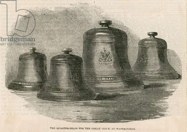 The quarter bells for the great bell (Big Ben) at the Clock Tower (engraving)