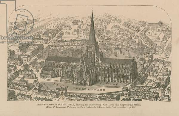 Bird's eye view of old St Paul's (engraving)