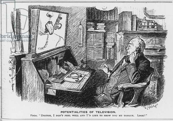 Potentialities of Television, cartoon from Punch Magazine (engraving)