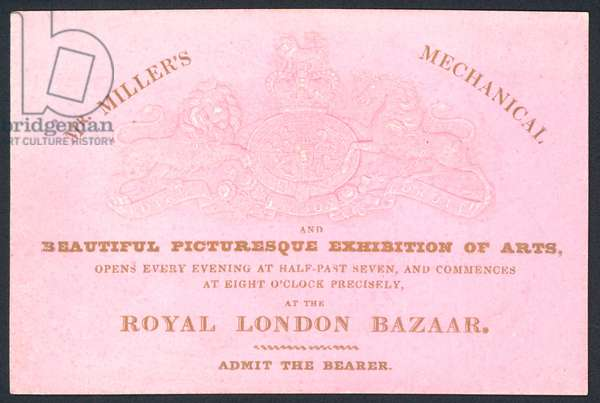 Mr Miller's mechanical and beautiful picturesque exhibition of arts, trade card (coloured engraving)