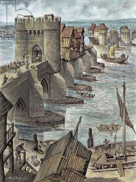 Reconstruction showing Old London Bridge a few years after it was built, looking north-west (gouache on paper)
