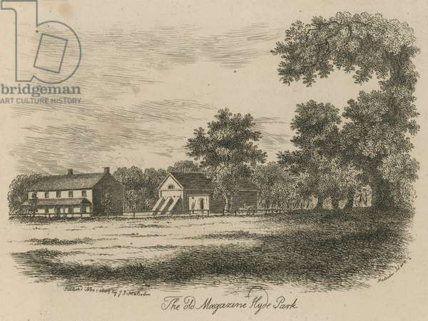 The old Magazine, Hyde Park, London (engraving)