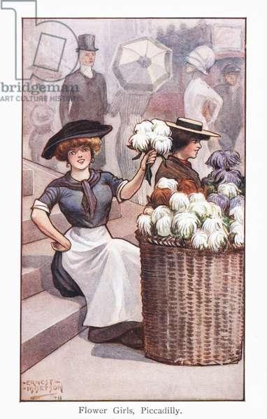 Flower Girls, Piccadilly (chromolitho)