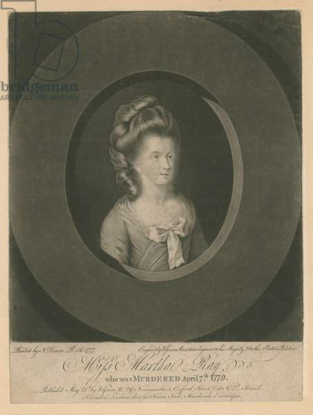Martha Ray, singer, who was murdered by James Hackman, a soldier, on 7 April 1779 (engraving)