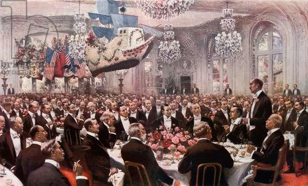 The Pilgrim's Banquet at the Savoy (colour litho)