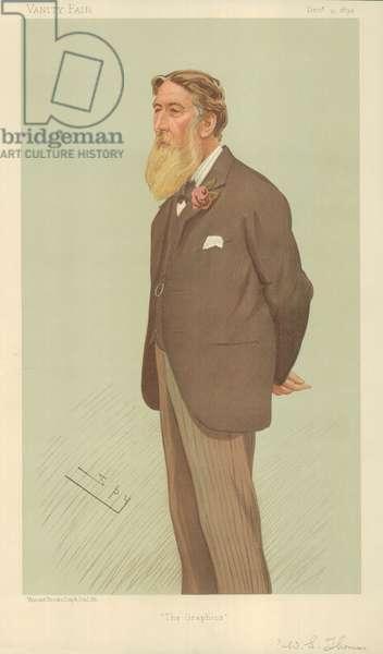 Mr William Luson Thomas, The Graphics, 13 December 1894, Vanity Fair cartoon (colour litho)