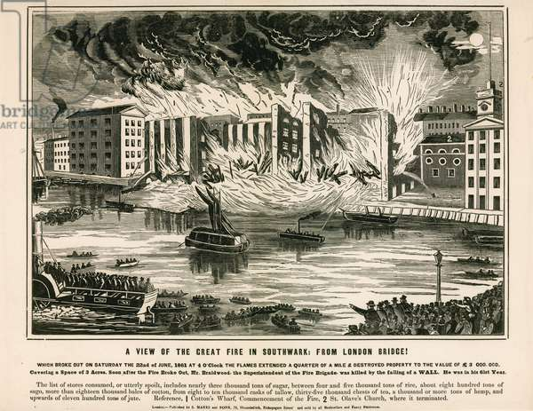 A View of the Great Fire in Southwark, from London Bridge (engraving)