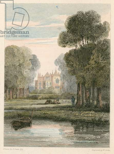 Strawberry Hill, London (coloured engraving)