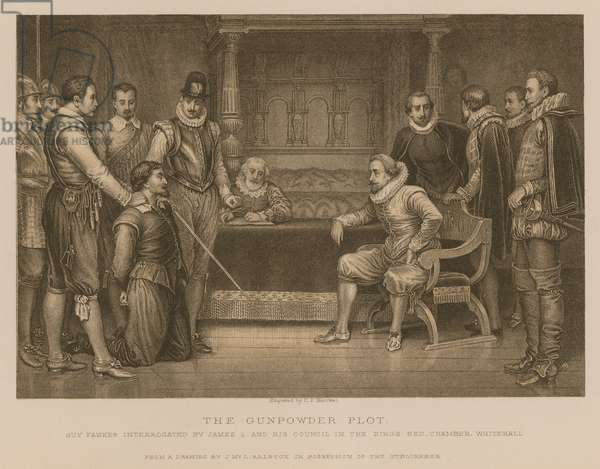 The Gunpowder Plot; Guy Fawkes interrogated by King James I and his council in the King's bedchamber, Whitehall (engraving)