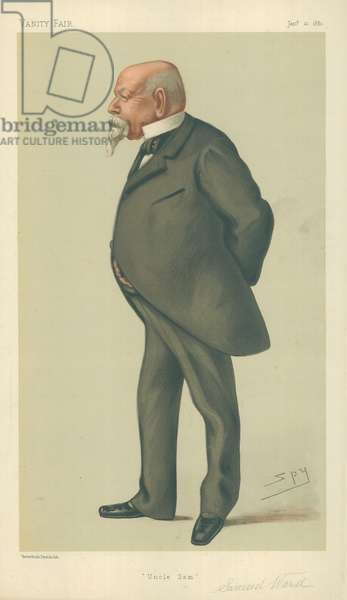Mr Samuel Ward, Uncle Sam, 10 January 1880, Vanity Fair cartoon (colour litho)