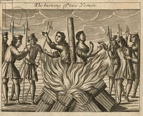 The burning of two women (engraving)