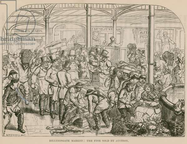 Billingsgate Market, the Fish Sold by Auction (engraving)