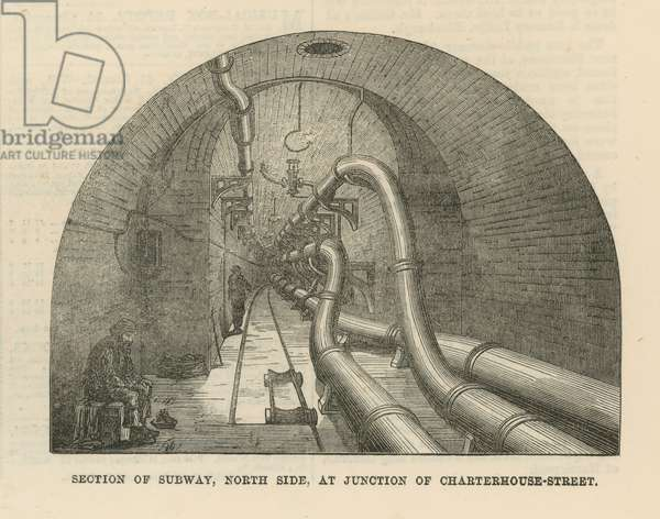 Section of subway, north side, at junction of Charterhouse Street (engraving)