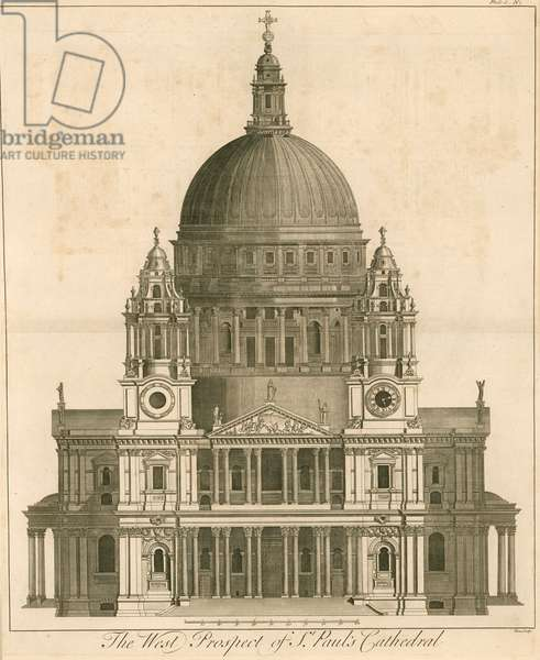 The west prospect of the Cathedral of St Paul's, London (engraving)