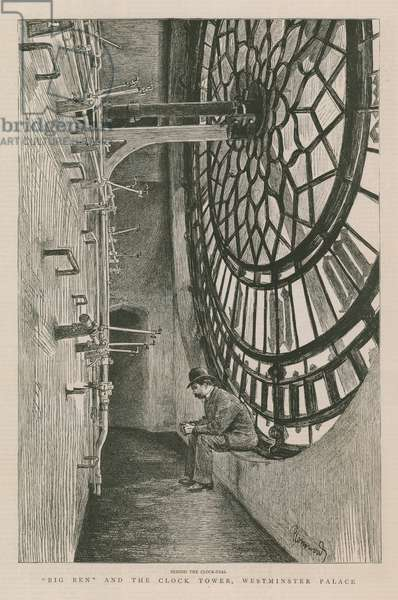 Big Ben and the clock tower (engraving)