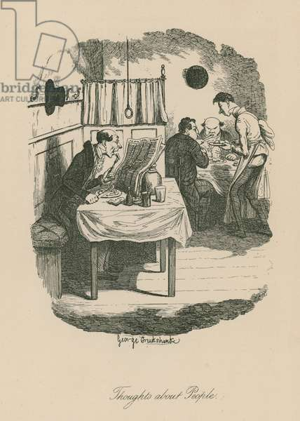 Thoughts about people, possibly based on a scence from Sketches by Boz (Charles Dickens) (engraving)