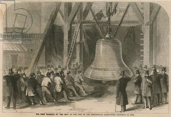 The first sounding of Big Ben at the foot of the Westminster Clock Tower (engraving)