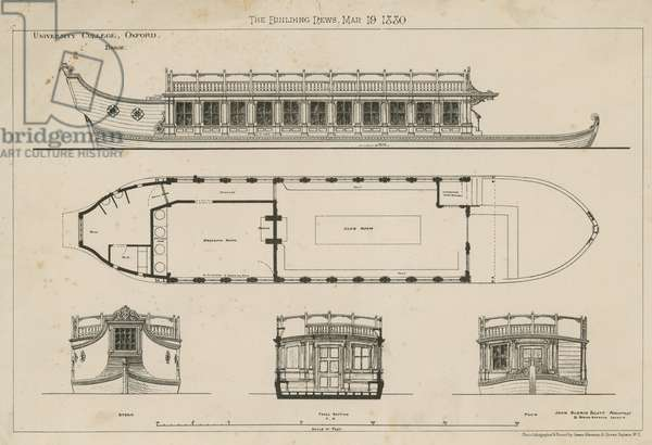 Plans of the University College Barge (engraving)