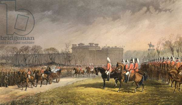 Hyde Park, the Princess passing the lines of the volunteers, 7 March 1863 (engraving)