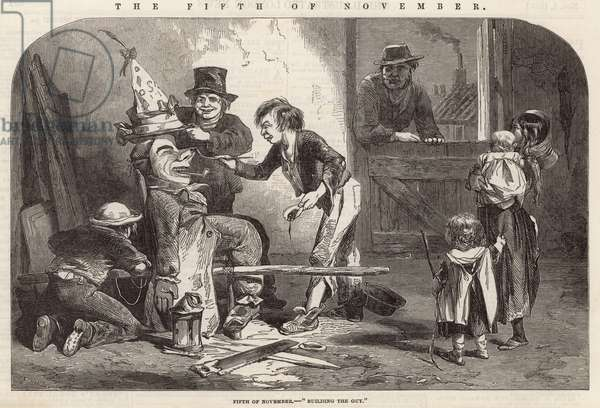 The Fifth of November - building the Guy (engraving)