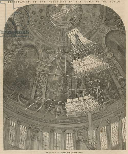 Restoration of the paintings in the dome of St Paul's (engraving)