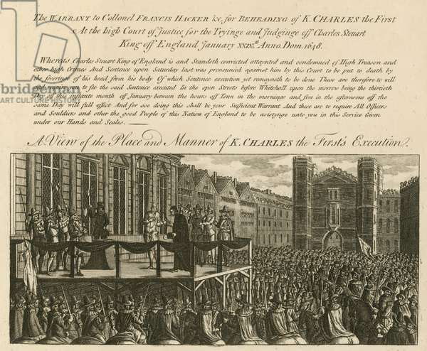 A view of the place and manner of King Charles I's execution (engraving)