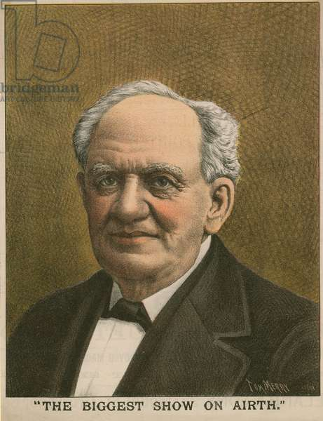 Portrait of P T Barnum, The Biggest Show on Airth (colour litho)
