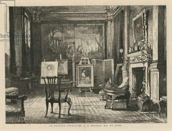 John Everett Millais at home (engraving)