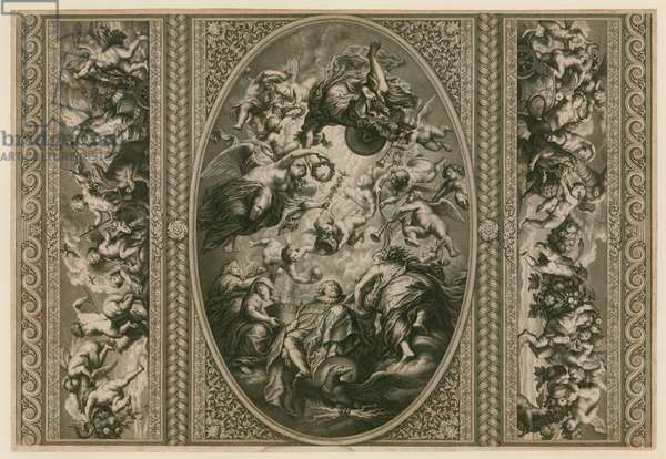 Ceiling of the Banqueting House in Whitehall (engraving)