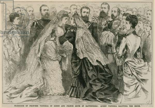 Marriage of Princess Victoria of Hesse and Prince Louis of Battenberg, Queen Victoria saluting the bride, 16 May 1884 (engraving)