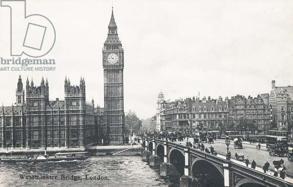 Westminster Bridge with the Palace of Westninster and Big Ben (b/w photo)