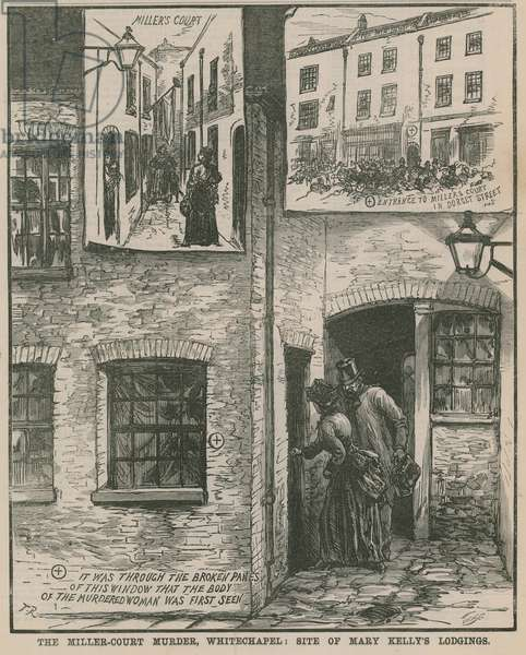 Jack the Ripper: The Miller Court murder, Whitechapel - site of Mary Kelly's lodgings (engraving)