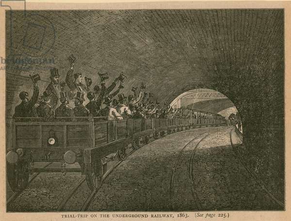 Trial trip on the Underground Railway (engraving)