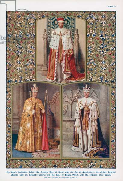 King George VI in his coronation robes (colour litho)