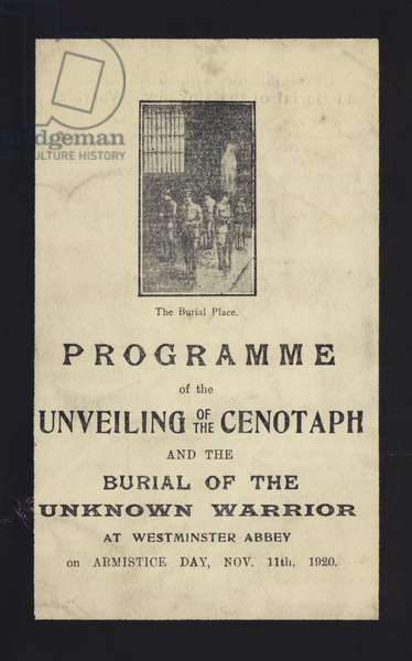 Programme for the unveiling of the Cenotaph and the burial of the Unknown Warrior, Westminster Abbey, London, 11 November 1920 (litho)
