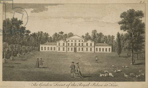 The garden front of the Royal Palace at Kew, London (engraving)