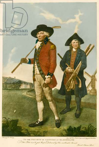 Golfer and caddie at Blackheath golf course, after 1790 (engraving)