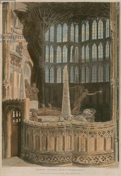 Memorial to George Villiers, Duke of Buckingham, Westminster Abbey, London (coloured engraving)
