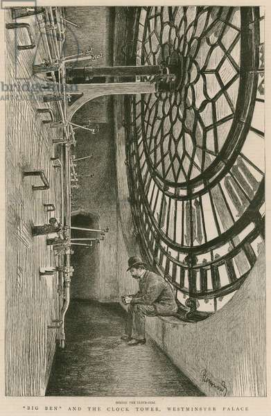 Behind the clock-dial, Big Ben and the Clock Tower, Westminster Palace (engraving)