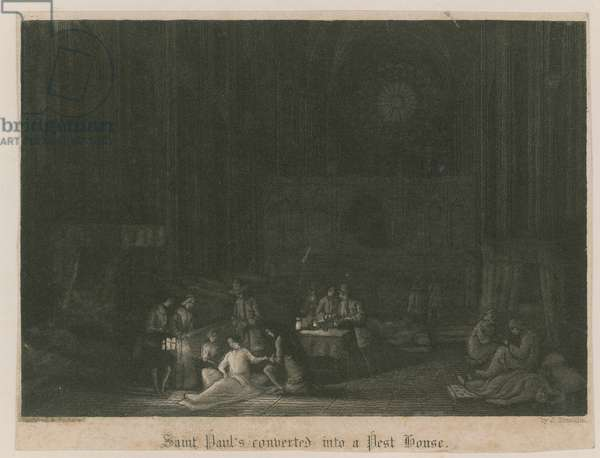 St Paul's converted into a pest house (engraving)
