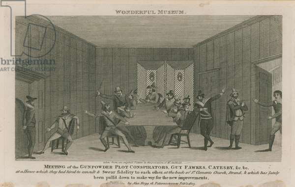 Meeting of the Gunpowder plot conspirators (engraving)
