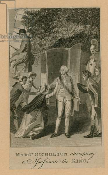 Margaret Nicholson attempting to assassinate the King (engraving)