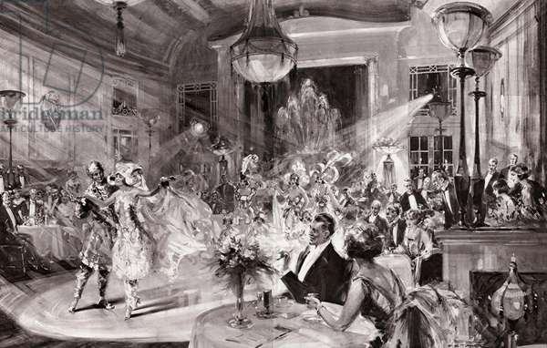 "Supper and Song and Dance: Patrons watching the last turn on the programme of Cabaret Follies - ""Finale Orientale"". (litho)"