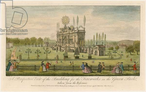 A Perspective View of the Building for the Fireworks in the Green Park (coloured engraving)