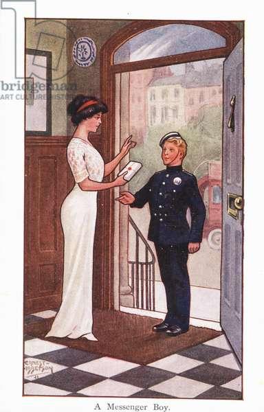A Messenger Boy (colour litho)