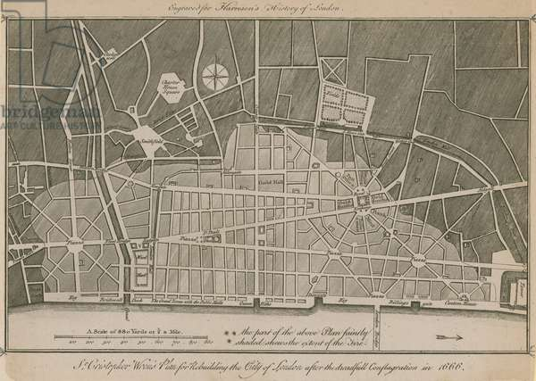 Sir Christopher Wren's plan for rebuilding the City of London after the dreadful conflagration in 1666 (engraving)