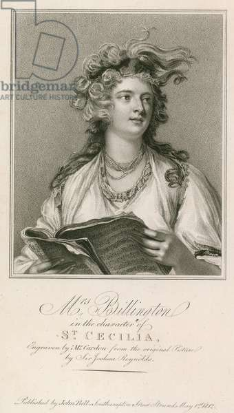 Mrs Billington in the character of St Cecilia (engraving)