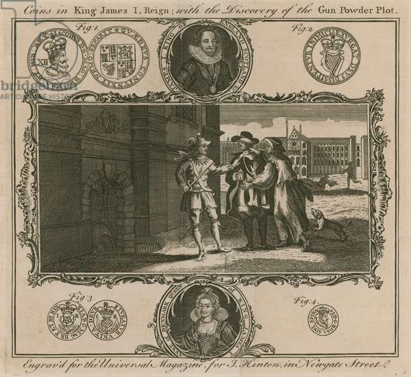 Coins in King James I reign, with the discovery of the Gunpowder Plot (engraving)